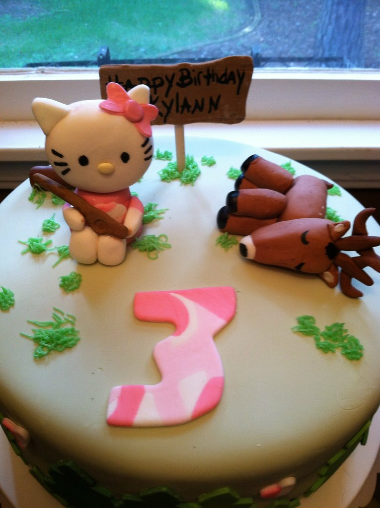 Sensational Hello Kitty Deer Hunting Birthday Cake Handmade Fondant Fi Flickr Funny Birthday Cards Online Elaedamsfinfo