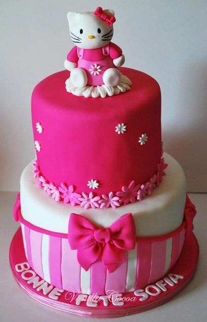 Sensational Hello Kitty Cake 1St Birthday Cake For Little Sofia Claud Flickr Personalised Birthday Cards Veneteletsinfo