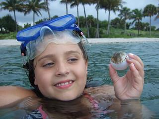Amanda with a pufferfish