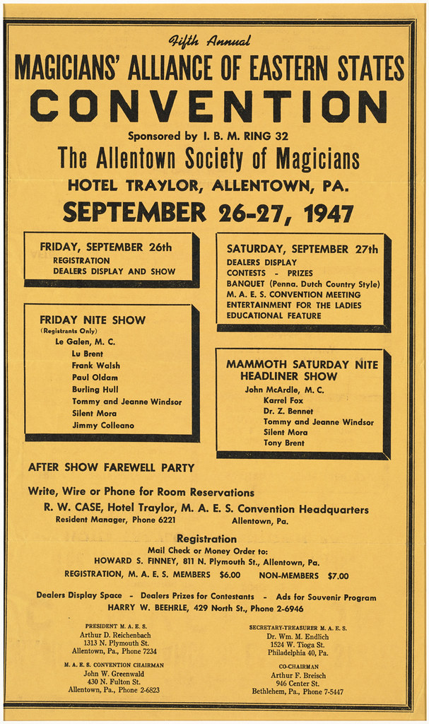 Fifth annual Magicians' Alliance of Eastern States convention : Sponsored by I. B. M. Ring 32, the Allentown Society of Magicians, Hotel Traylor, Allentown, PA., September 26-27, 1947