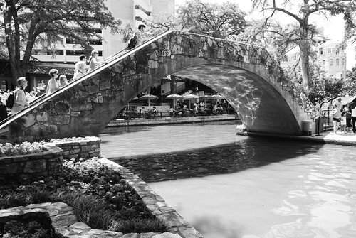 Pedestrian Bridge over San Antonio River, San Antonio, Texas 1306021526BW | by Patrick Feller