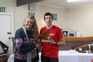 Chantal Grass presenting the Basin Trophy – Senior to Andrew Coffin, winner of the Closing Regatta | by PLSC (Panmure Lagoon Sailing Club)