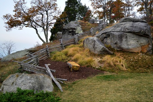 rocks lawn grass trees bench seat smoke fence splitrail ncmountainman nikon d3200 phixe lowresolutionversion