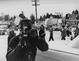 Filming the police at fair housing protest, 1964