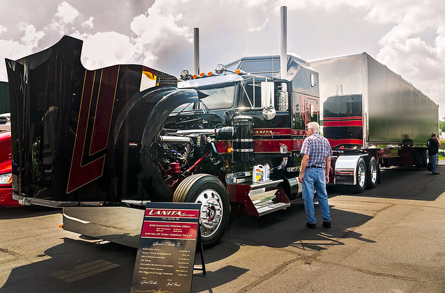 Lanita Transport's 2015 Kenworth W900L and Mac trailer at the 34th annual Shell Rotella SuperRigs truck beauty contest in Joplin Missouri