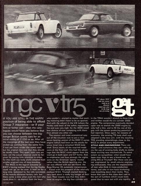 MG MGC Roadster & Triumph TR5 Twin Road Test 1968 (1)