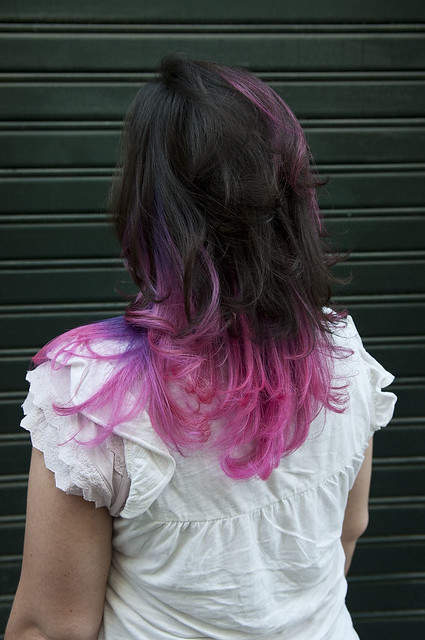 long hair with purple highlights