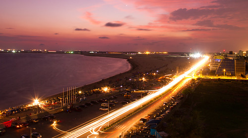 motion cityscape sunset architecture travel destinations horizontal outdoors high angle view long exposure nigeria sea beach eko atlantic illuminated color image lagos city life no people photography romantic sky dramatic light trail