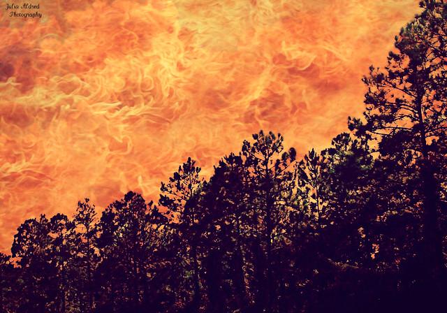 Raining fire.