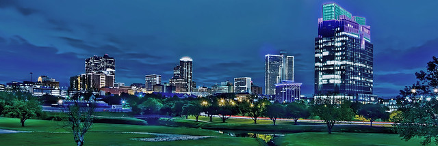 The skyline of Fort Worth, Texas, USA at night