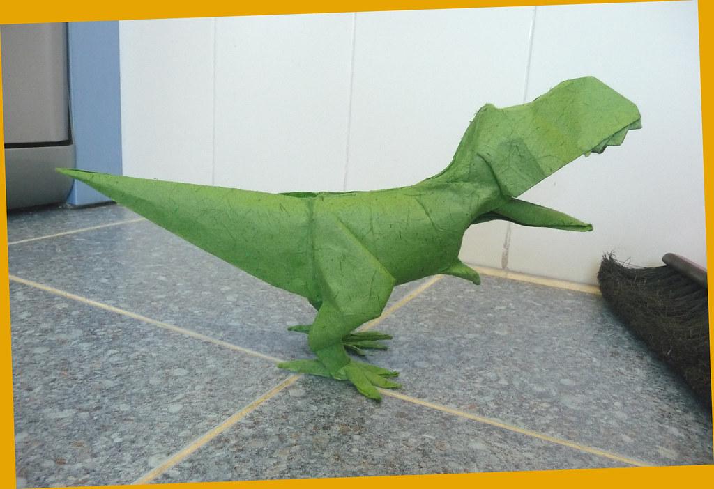 Origami T-Rex Dinosaur by Maekawa Jun - Yakomoga Origami tutorial ... | 702x1024