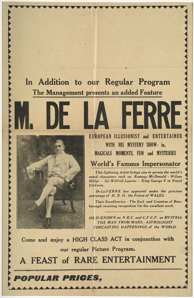 M. De La Ferre : World's famous impersonator