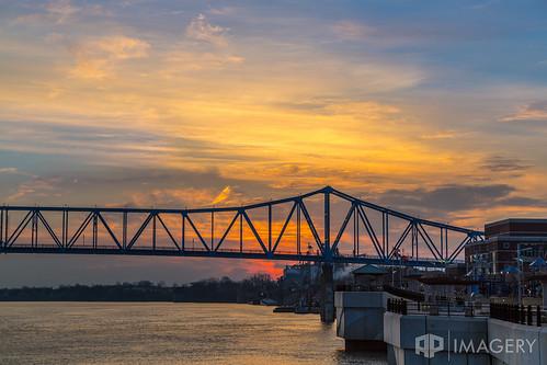 bridge blue sunset sunrise river downtown glover cary ohioriver owensboro smotherspark