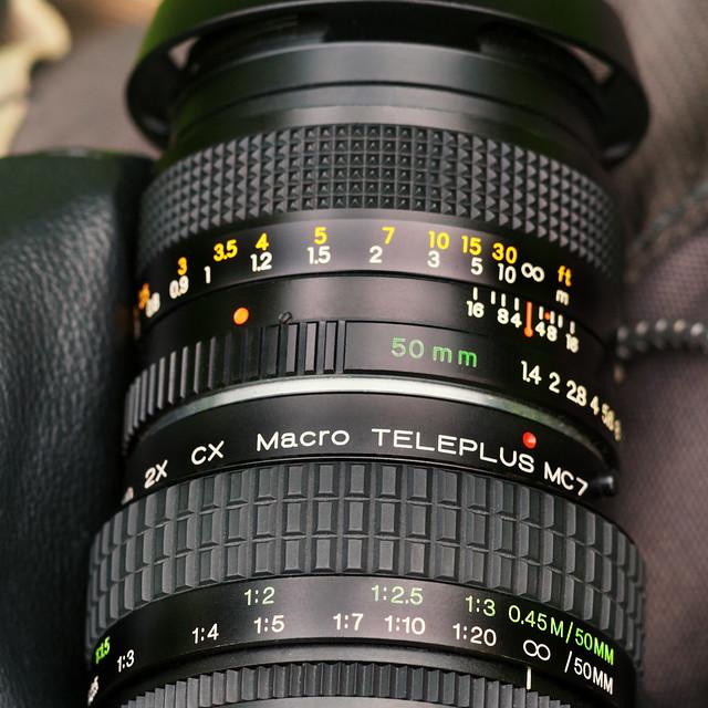 Yashica ML 50mm ƒ/1.4 with Macro Teleplus MC7