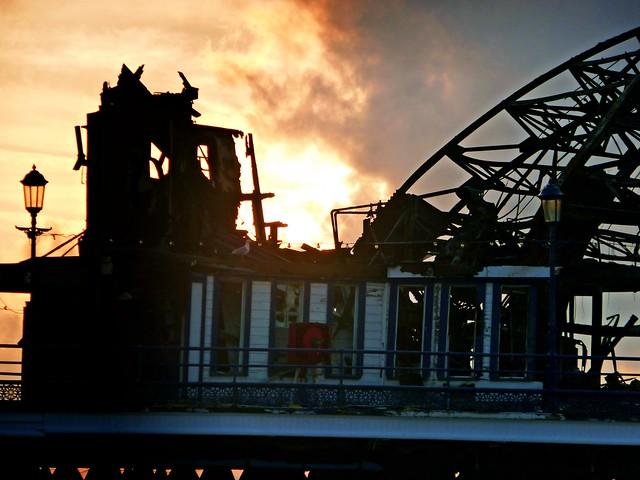 Sunrise through fire damage