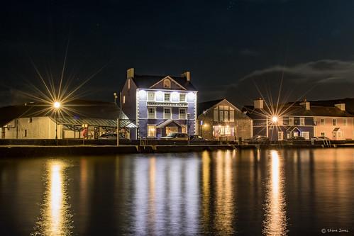 harbourmasterhotel hotel aberaeron ceredigion night sea harbour lights reflection nikon d500 2470mm wales