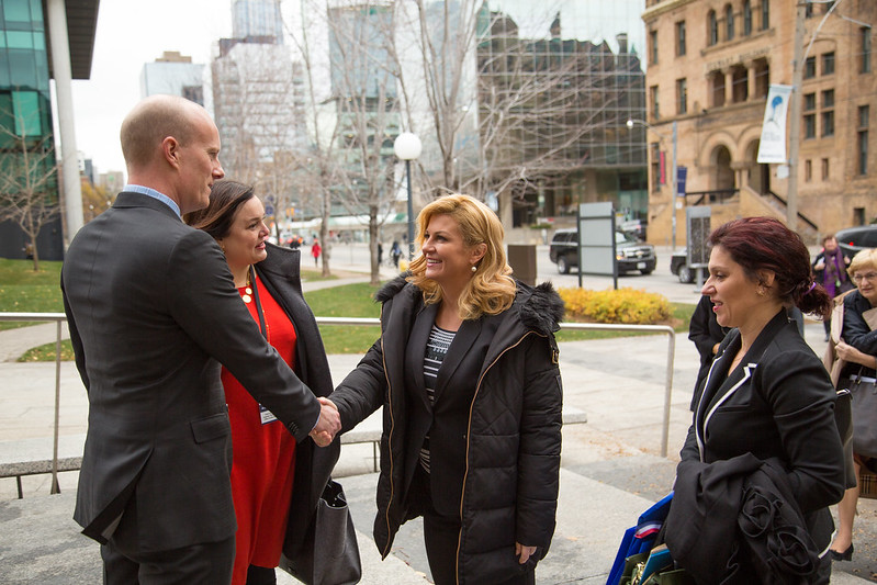 On Nov. 22, 2016, Her Excellency Kolinda Grabar-Kitarović, President of the Republic of Croatia, visited U of T's downtown Toronto campus.  President Grabar-Kitarović met with researchers and students for a tour of the Stagljar Lab at the Donnelly Centre for Cellular and Biomolecular Research as well as Croatian U of T students at Simcoe Hall.   (Photos by Johnny Guatto)