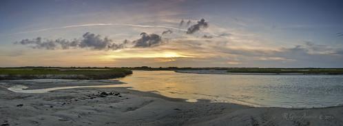 sunset panorama water creek sand surf inlet atlanticocean newriver topsailisland hellgate d600 northtopsail