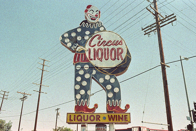 the liquor clown haunts my dreams. north hollywood, ca. 2014.