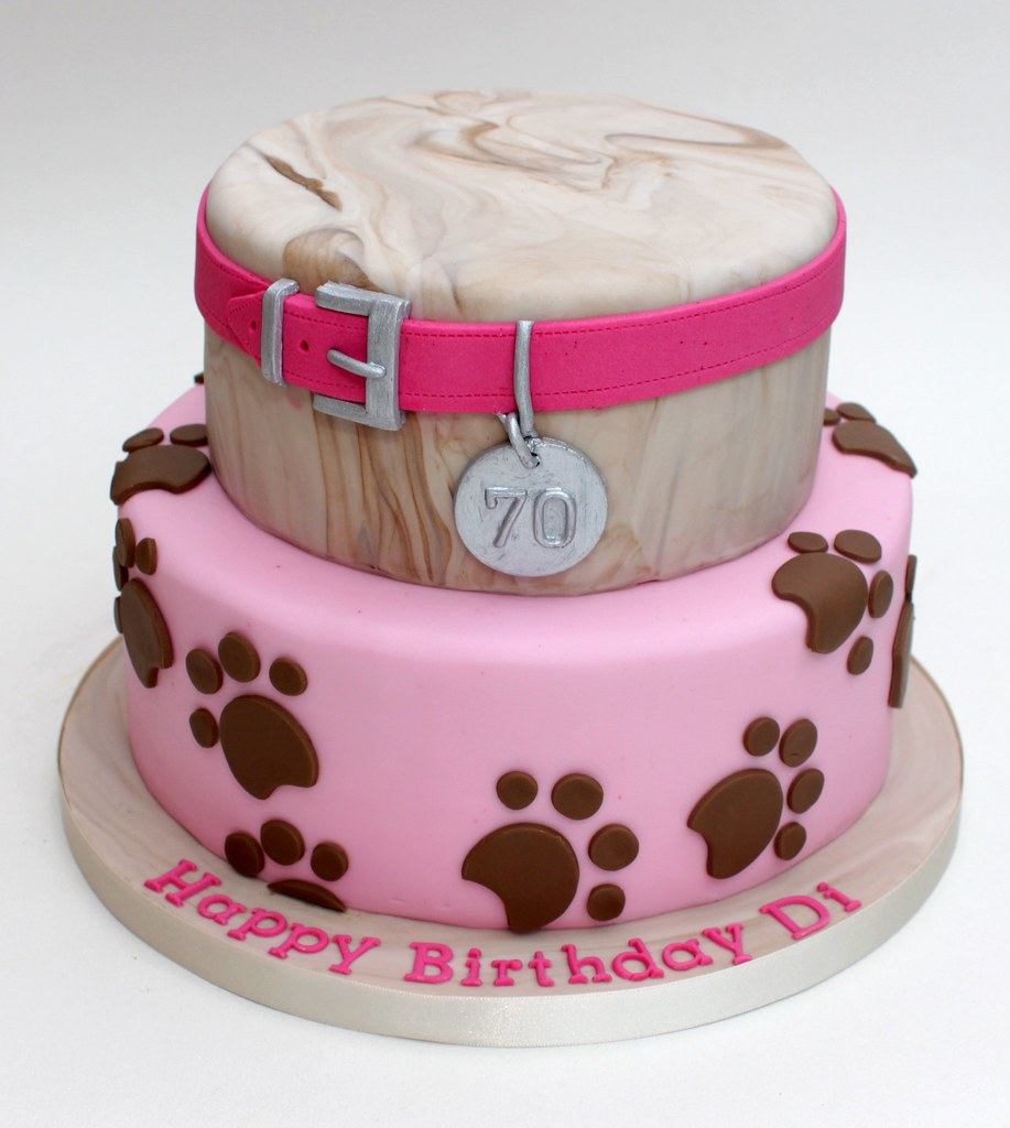 Strange Pink Dog Themed 70Th Cake A 70Th Birthday Cake Inspired By Flickr Funny Birthday Cards Online Fluifree Goldxyz