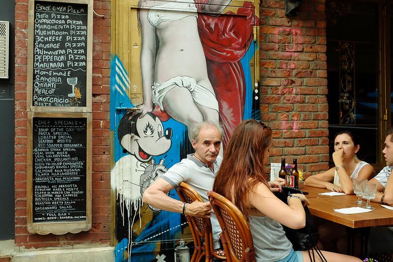 New York City Street Scenes - Sidewalk Restaurant in Little Italy