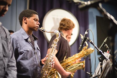 NOCCA Jazz Band at WWOZ.  Photo by Ken Maldonado