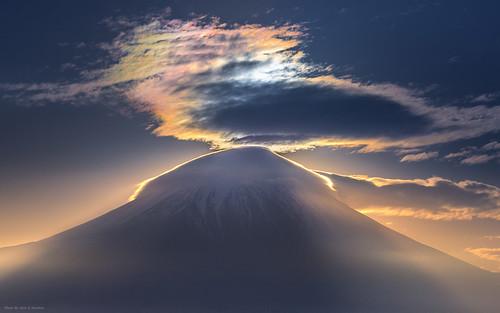cloud fuji fujinomiya fujisan fujiyama landscape light mountain nature sunrise volcano