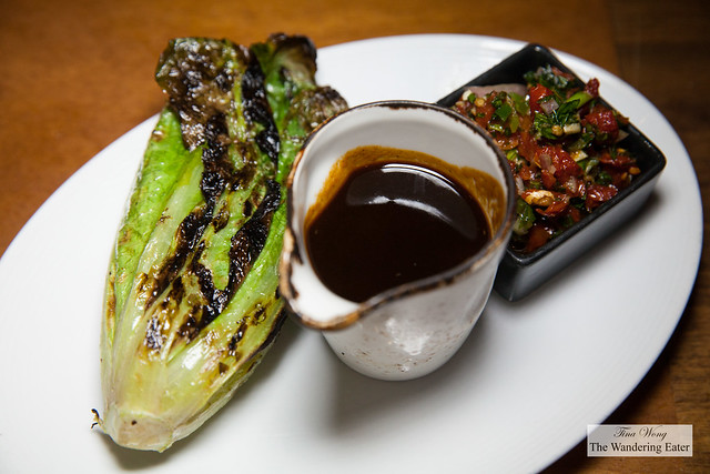 Grilled romaine, beef jus, red pepper variation of chimichurri