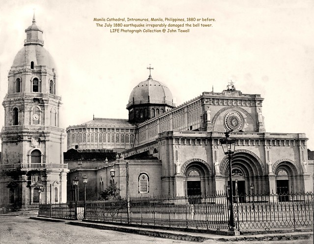 Manila Cathedral, Intramuros, Manila, Philippines, 1880 or before.