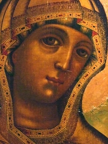 Tichvine Mother of God Russian late 17th century Egg Temperua on wood panel with gold leaf Detail 2 | by mharrsch
