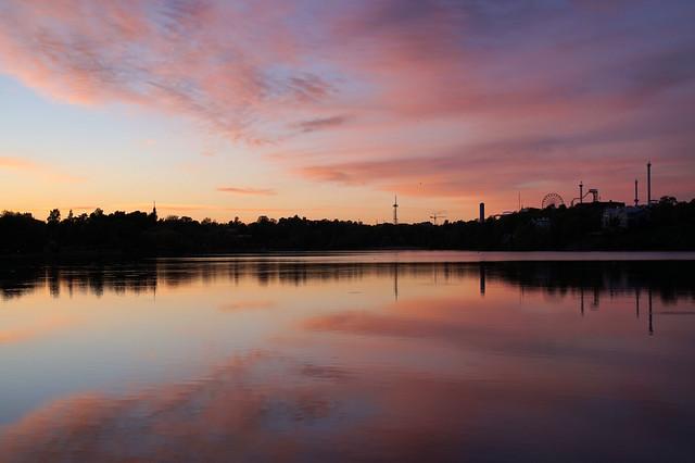 Helsinki / Finland, May 2015: Töölönlahti at sunset