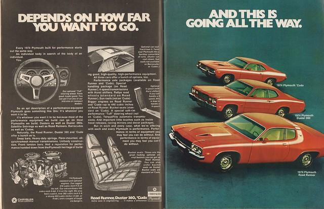 1974 Plymouth Road Runner - Duster 360 - Barracuda Advertisement Motor Trend October 1973