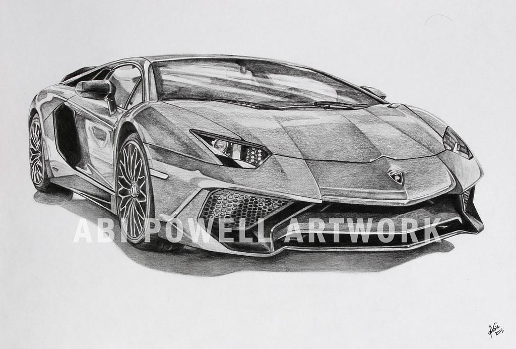Pencil Drawing Lamborghini Aventador Superveloce Abi Powell Flickr