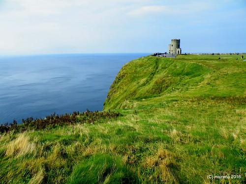 tower ireland cliffsofmoher grass sea green blue cliffs nature top tourism landscape