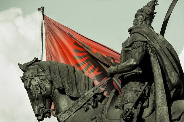 Statue of Skanderberg in Tirana