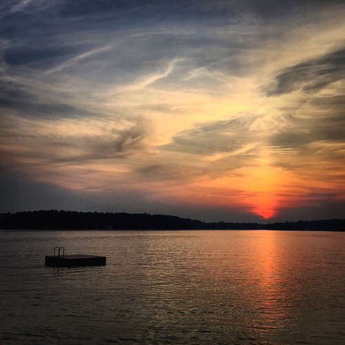 sunset lake water evening dock newhampshire lakewinnipesaukee wolfeboro iphone