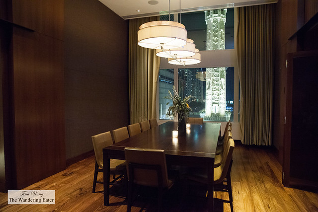 Private dining area with a view of downtown Chicago