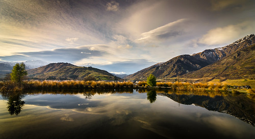 sunset newzealand sky lake mountains water clouds reflections evening pond nikon