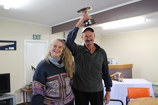 Chantal Grass and Paul Page winner of the Kaiahiku Trophy - Senior, for most wins (45 wins) | by PLSC (Panmure Lagoon Sailing Club)