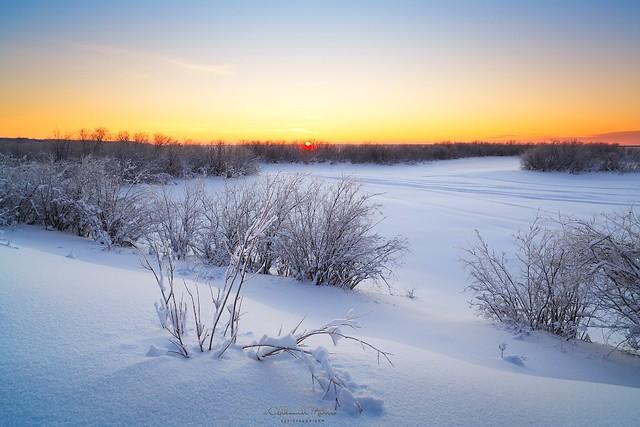 Winter sunset on north, -29*C