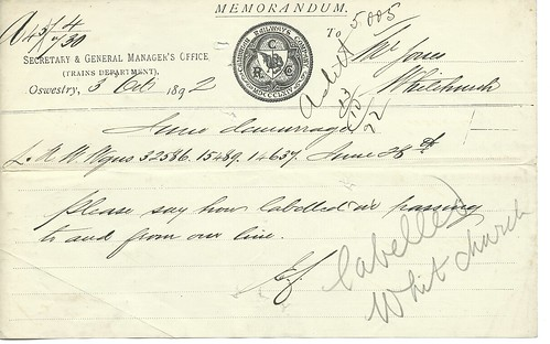 Cambrian Railway Memo showing company seal 1892 | by ian.dinmore