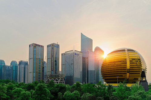 sunset downtown hangzhou cbd newcity qianjiang