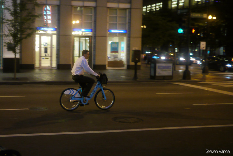 Riding Divvy in a suit