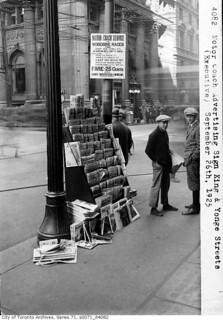 Newspaper boys, King and Yonge streets | by Toronto History