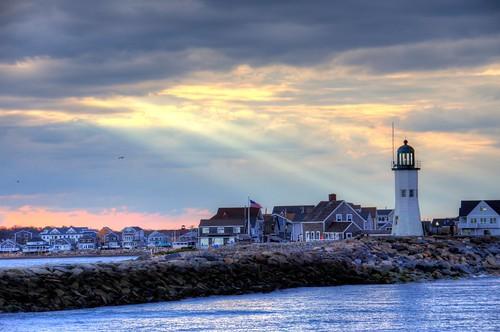 ocean light sunset sea sun lighthouse massachusetts spotlight rays hdr stas scituate burdan
