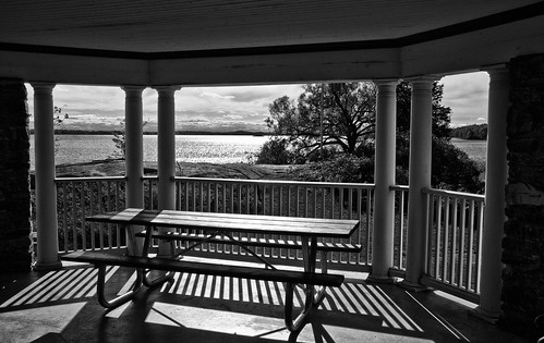 stlawrenceriver mallorytownlanding picnictable view blackwhite monochrome gazebo parkscanada
