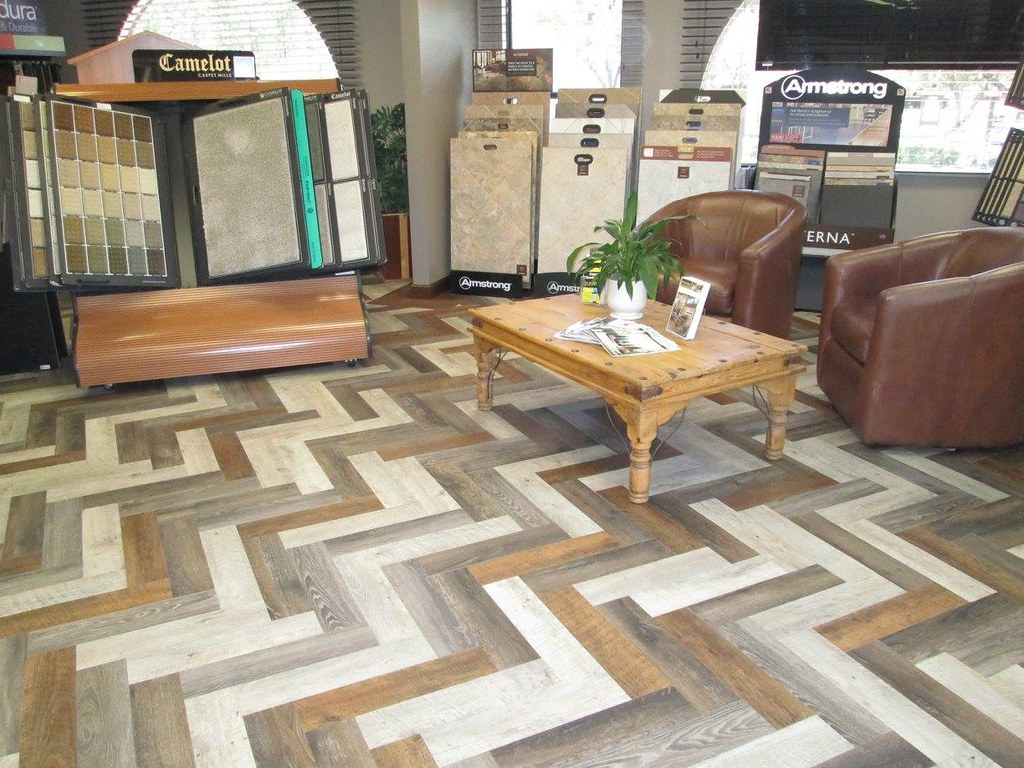 New Sbf Showroom Floor Vinyl Planks In Herringbone Patte