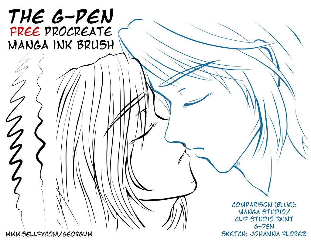 FREE Manga Ink Brush: G-PEN for Procreate | My new G-PEN (G