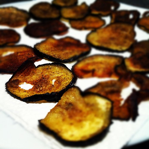 Eggplant crisps, the lengths you go to when you shy away from carbs... #paleo #crossfit | by Manne
