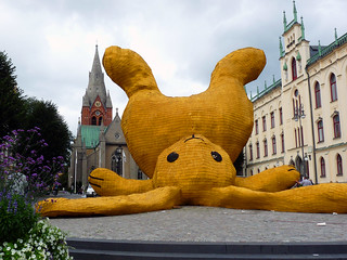 Giant yellow wooden rabbit | by fam_nordstrom